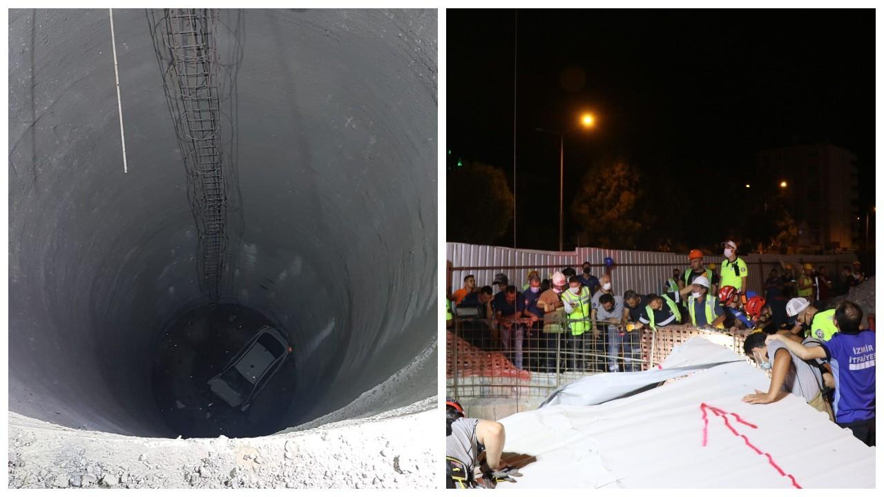 Otomobil metro inşaatındaki 25 metrelik boşluğa düştü: 1 ölü, 1 yaralı