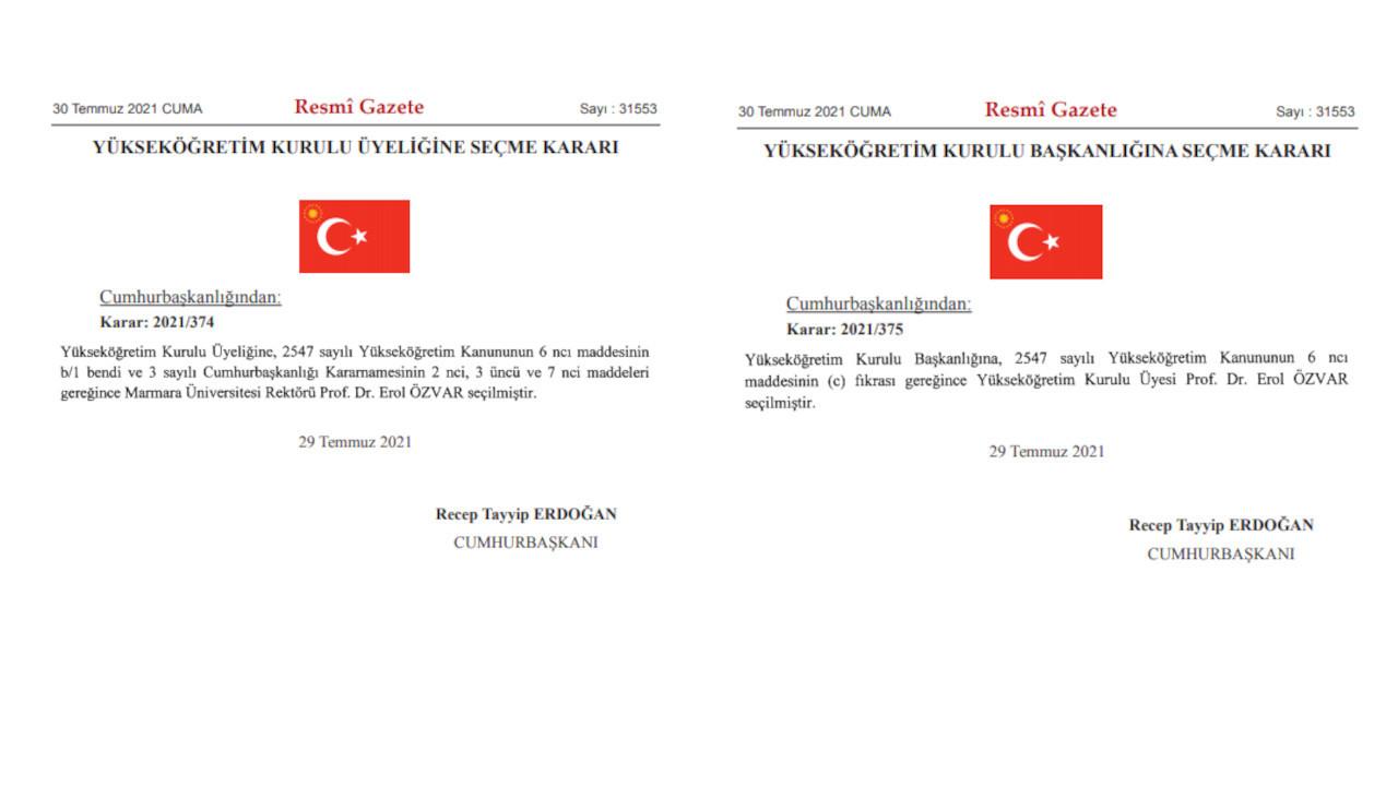 Cumhurbaşkanı, Prof. Özvar'ı YÖK'e önce üye, sonra başkan olarak atadı