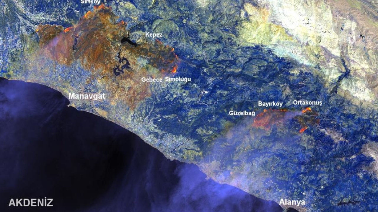 Manavgat'taki yangının etkilediği alan haritalandırıldı