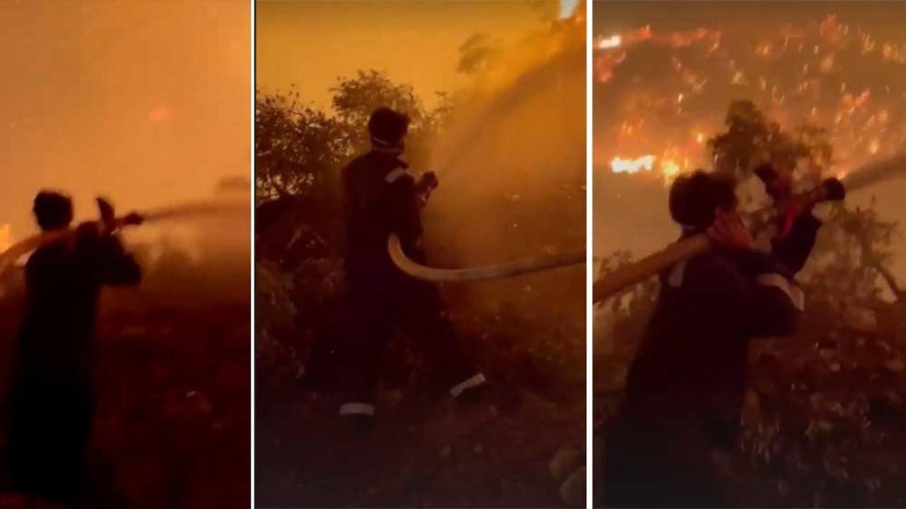 Oyuncu İbrahim Çelikkol yangın söndürme çalışmalarına katıldı