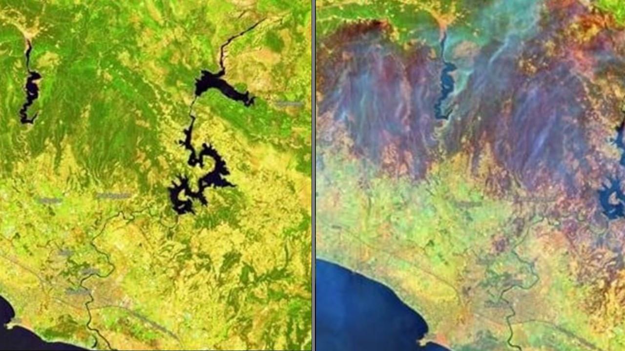 Öncesi ve sonrası: Uydudan yangın görüntüleri