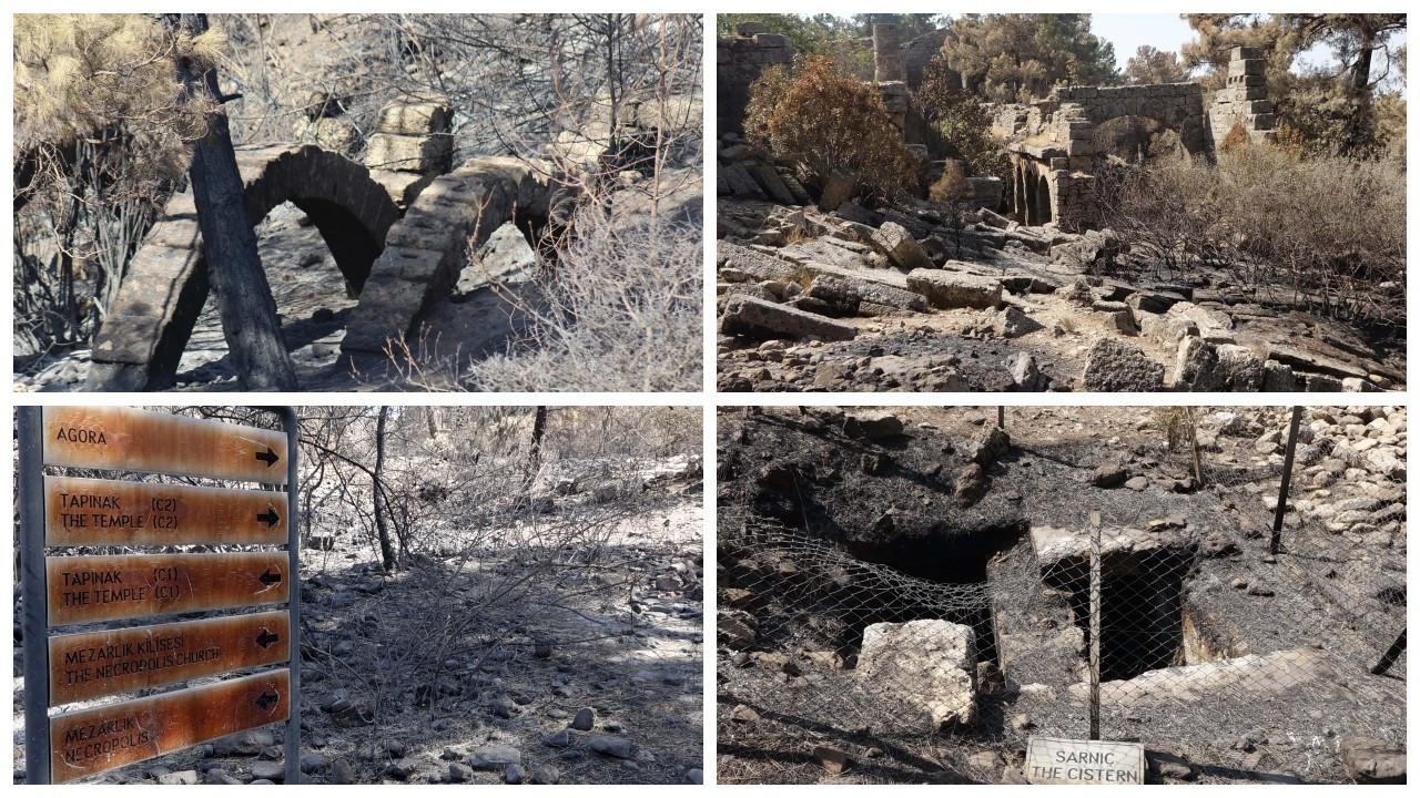 Manavgat'taki yangında Lyrbe Antik Kenti de yandı