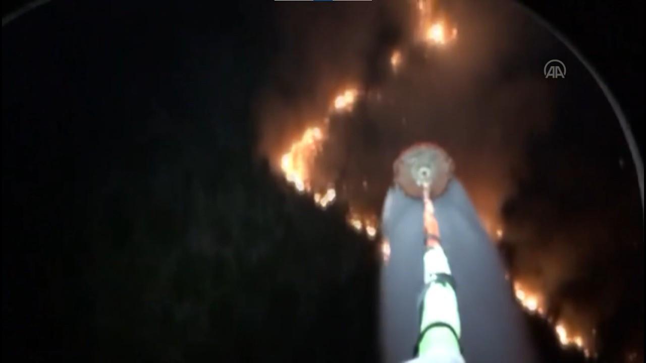 Yangınlara gece görüşlü Ukrayna helikopterleri müdahale ediyor