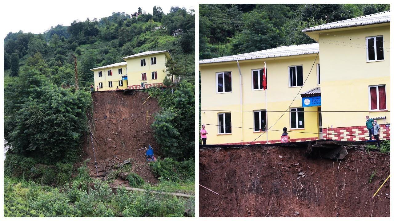 Rize'de heyelan: Okulun bahçesi çöktü