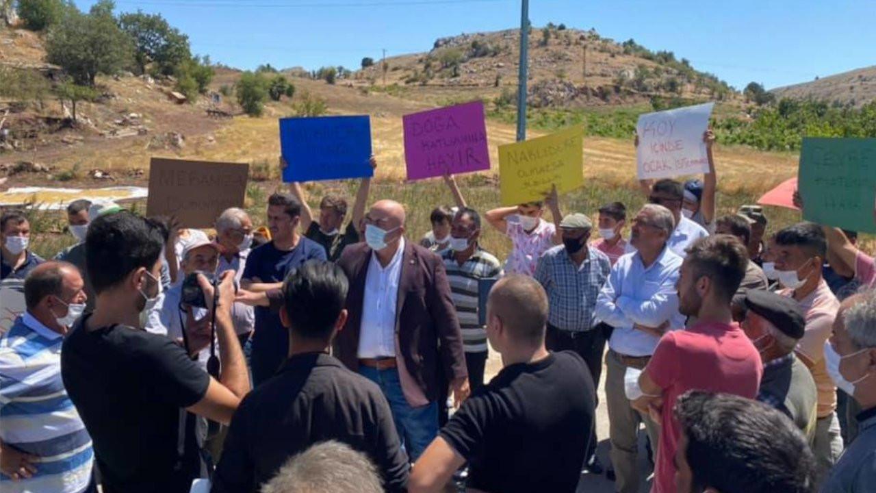 Karaman'da mermer ocağına karşı çıkan köylüler eylem yaptı