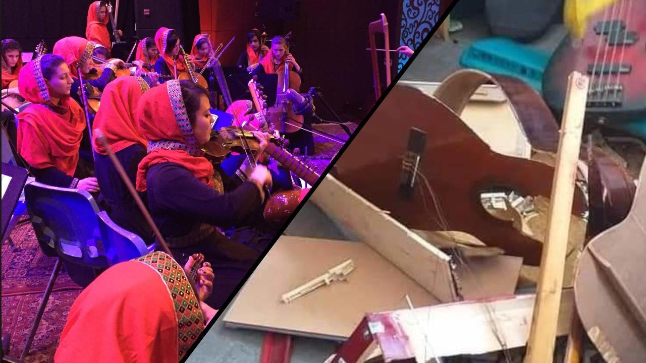 Taliban, Müzik Enstitüsü'nü basarak enstrümanları parçaladı