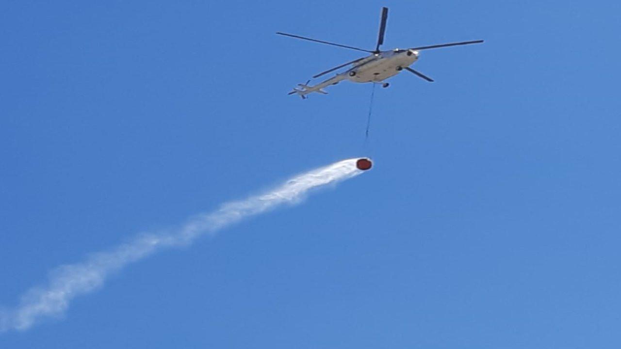 Bitlis'teki orman yangınına havadan müdahale başladı