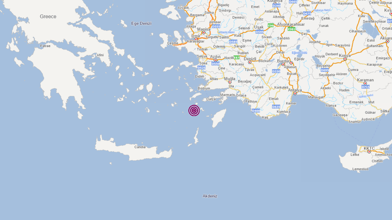 Datça açıklarında 4,4'lük deprem