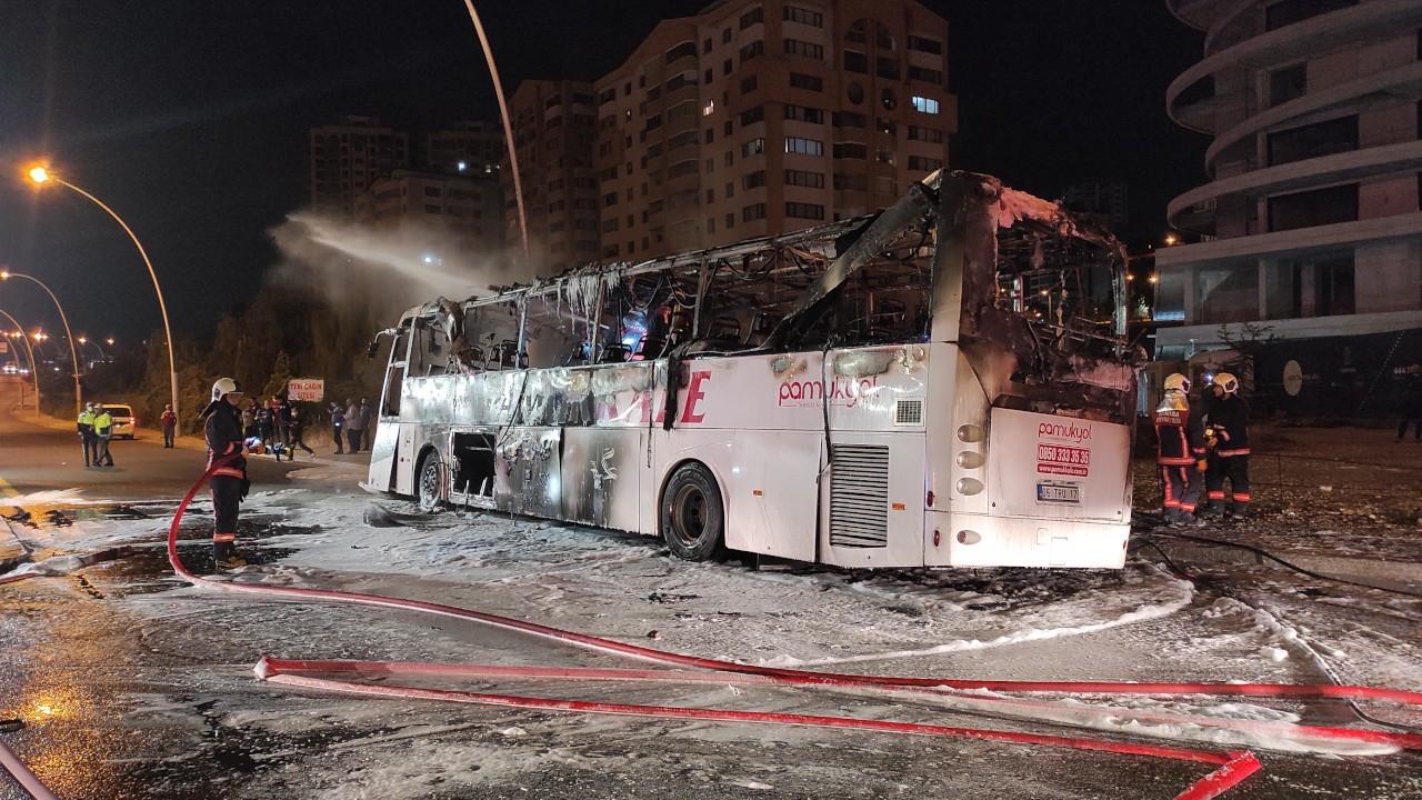 Ankara'da şehirlerarası otobüs yandı: 1 ölü, 20 yaralı
