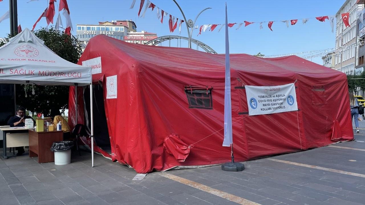 Giresun'da aşı çadırına zarar verildi
