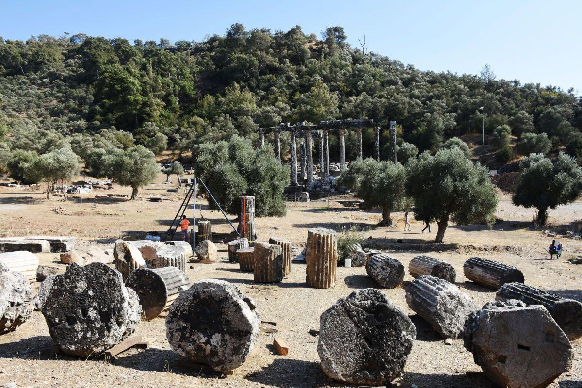 Milas'ta Zeus tapınağındaki sütunlar ayağa kaldırılıyor - Sayfa 1