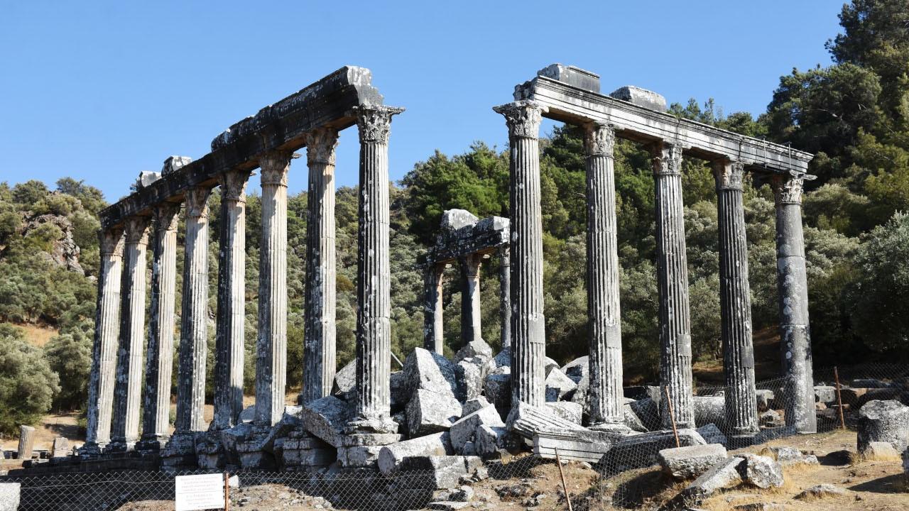 Milas'ta Zeus tapınağındaki sütunlar ayağa kaldırılıyor