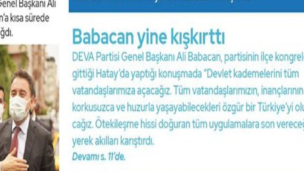 DEVA'dan 'Çamur' gazete: Babacan yine kışkırttı