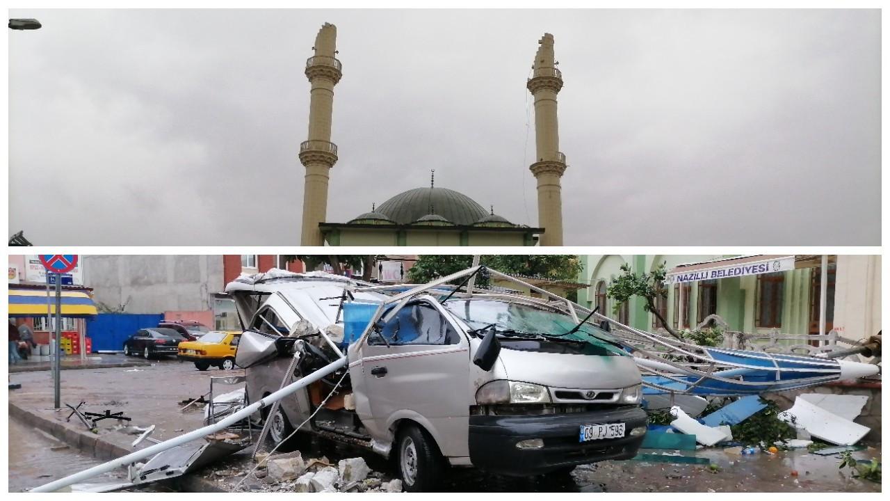 Aydın'daki fırtınada minare yıkıldı