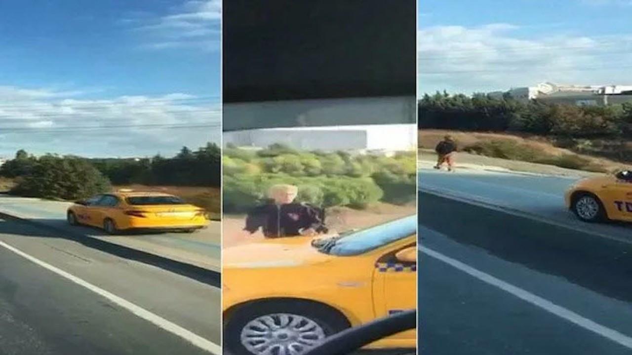Kaldırımdan giden taksici, korna çalarak yayadan yol istedi