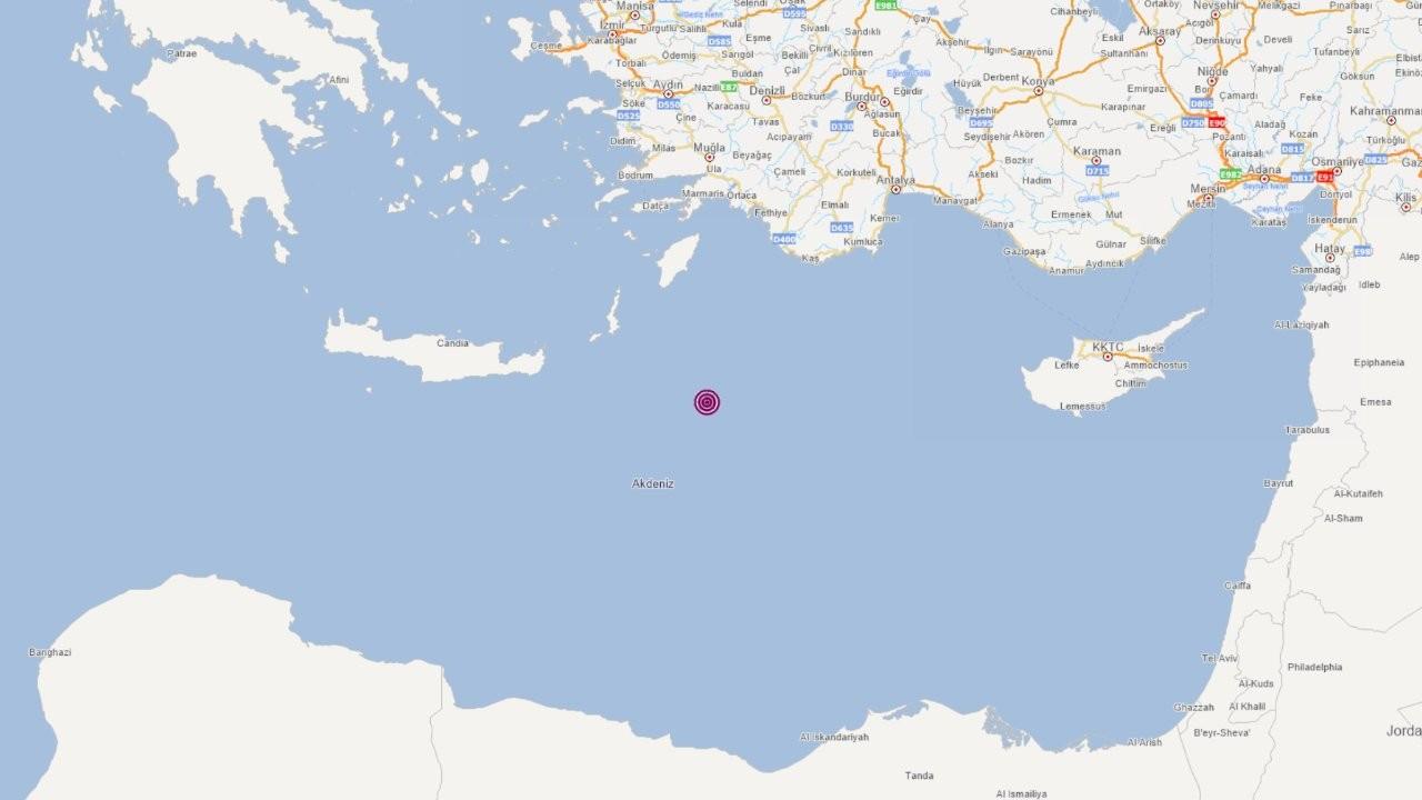 Akdeniz'de 6,0 büyüklüğünde deprem