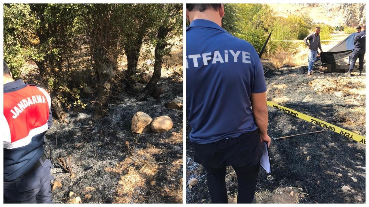Anız yangınında erkek cesedi bulundu